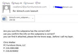 Screen Capture of suspicious email